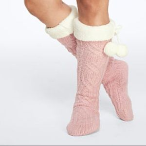 Vs pink cable knit socks